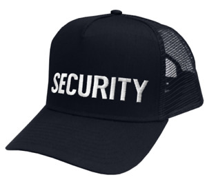 Security hat white lettering on dark navy mesh cap one size fits all #6748tm