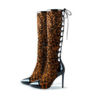 Onlymaker Women's Pointed Toe Leopard Knee High Boots Lace up Cut Out High Heels