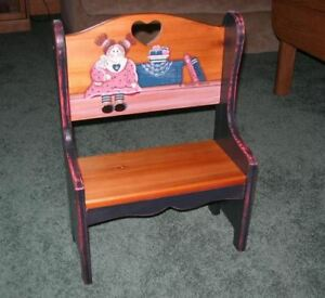 PINE COUNTRY BENCH WITH RAG DOLL DESIGN BY ARTIST DIANNA MARCUM VERY NICE