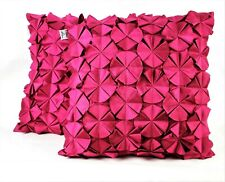 MARIO LORENZ Pair of Purple Pink Throw Pillows Cushions Flower Petal Design