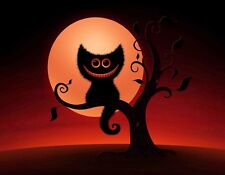 METAL MAGNET Image Of Halloween Black Cheshire Cat In Tree Moon Cats MAGNET