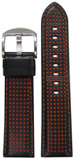 20mm Panatime Black Perforated Leather Watch Band w/Orange Stitch 120/80 20/18