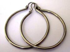 boucles d'oreilles percées bijou vintage anneaux créoles couleur argent 4444