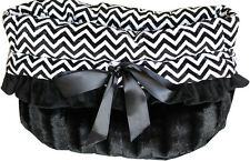 Pet Flys Black Chevron Snuggle Bugs Pet Bed, Carrier Bag, Car Seat All-in-One
