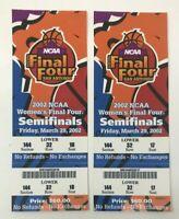 (2) 2002 NCAA Women's FINAL FOUR Basketball TICKETS Connecticut Oklahoma Duke