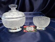 Frosted William Adams Crystal Bowl Rose w/ Silver Plate Base Italy Two Pieces