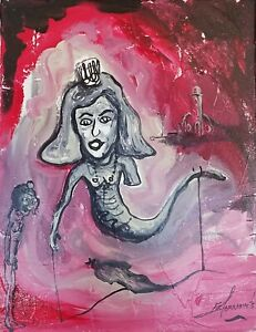 E. Agramonte LaMongaLisa 14X11 Acrylic Canvas Cuban Art Original Painting 2016