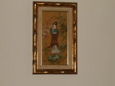 Vintage Framed Oil On Silk Painting Asian Woman In Kimono Signed