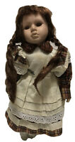 """Antique Porcelain Doll Eyes And Hair Brown 12"""" Tall. With Metal Stand"""