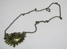 Lovely brass tone metal chain necklace Owl pendant 60 cm long