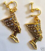 EGYPTIAN STYLE NEFERTITI GOLD TONE LARGE HANDMADE EARRINGS SCREW FITTING