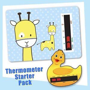 Baby Duck Bath & Blue Giraffe Nursery Room Thermometer Starter Pack