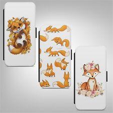 Red Fox con Patrón de Impresión Arte Abatible Billetera Teléfono Estuche Cubierta para IPHONE SAMSUNG HUAWEI