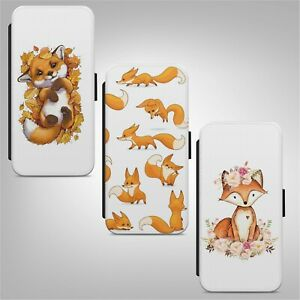 Red Fox Pattern Print Art FLIP WALLET PHONE CASE COVER FOR IPHONE SAMSUNG HUAWEI