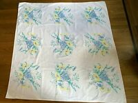 "Vintage 50's Tablecloth Printed Soft Blue Yellow Flowers Cotton 49"" x 52"""