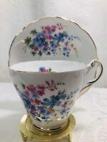 Vintage REGENCY Teacup & Saucer Pink & Blue Flowers Bone China Made in England