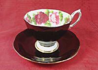Royal Albert Bone China Old English Rose Black Teacup Cup and Saucer England