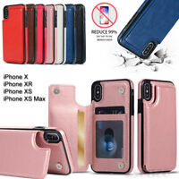 For Apple iPhone XS Max & XR - Luxury Card Holder Back Leather Wallet Case Cover