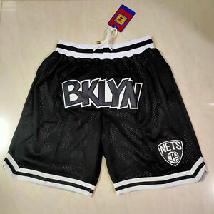 New Brooklyn Nets Vintage Embroidered Stitched Black Basketball Short Size:S-XXL