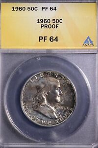 1960  FRANKLIN  SILVER PROOF HALF DOLLAR, ANACS Certified PF64, BEAUTIFUL COIN