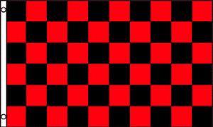 2x3 Checkered Checker Black Red Race Flag 2'x3' House Banner Grommets