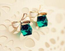 Pair Of Blue or Green Gold Tone Cube & Ribbon Stud Earrings Ear Rings Ring ER23