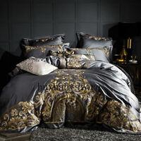 Luxury 600TC Egypt Cotton Gray Elegant Bedding Set Embroidery Duvet Cover Sheet