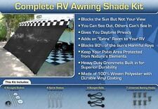 RV Awning Shade Kit Black Motorhome Awning Screen Trailer Kit 10x12