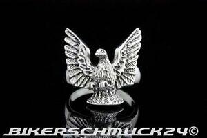 Adler Ring mit ausgebreiteten Schwingen Flügel aus 925 Silber Biker Geschenk
