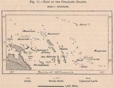 Zone of the Coralline Islands. Pacific Islands. Polynesia Melanesia 1885 map