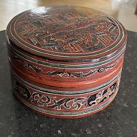 Antique Betel Nut Box Burmese Lacquerware Orange Black Burma 1910s 1920s
