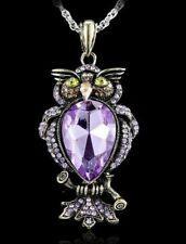 Purple Gemstone Statement Owl Pendant Necklace w/Free Jewelry Box and Shipping