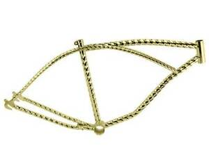 """Custom 26"""" Steel Hexagon Twisted Bicycle Frame Lowrider Gold Bike Frame Part"""
