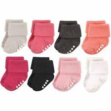 Hudson Baby Girl Non-Skid Cuff Socks, 8-Pack, Pink Black