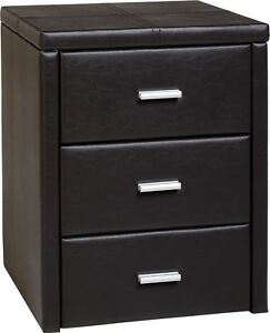 Prado 3 Drawer Bedside Chest in Brown PU Leather - Free Delivery