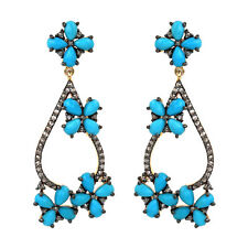 Gold Diamond Pave Women's Jewelry Turquoise Gemstone 925 Silver Dangle Earrings