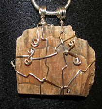 Petrified Wood necklace snake chain natural stone wire wrapped pendant ooak