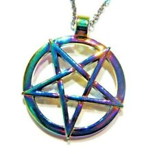 ANODIZED RAINBOW PENTAGRAM PENDANT NECKLACE inverted pentacle wiccan occult J4