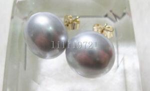 natural 13-13.5 mm South Sea Gray Pearl Earrings 14k