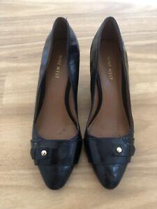 Nine West Size 8 Black Leather Wedges