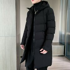 Men's Cotton Padded Coat Hooded Mid Length Outwear Quilted Jacket Overcoat Warm