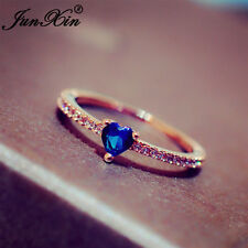 Heart Shape Blue Sapphire Rose Gold Wedding Engagement Band Ring Gift Size 6,7,8