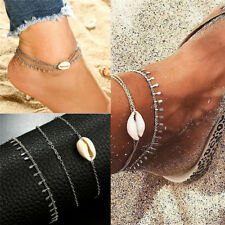 Boho Crystal Shell Beach Foot Chain Conch Sandal Anklets Beads Bracelet Jewelry