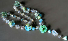 flower bead wired lavalier necklace -N104 art deco 30s style aqua Czech glass