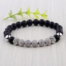 Men Luxury 7 Pieces Silver Zircon Balls Hand-Woven 8MM Matte Lava Beads Bracelet