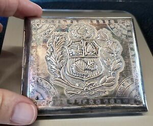 Antique 925 Sterling Silver Embossed Large Cigarette Case Box. 73g