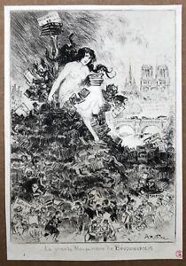 Gravure Eau-Forte Albert Robida Caricature Bouquinistes Livres Paris Woznicki