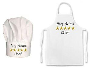 KIDS PERSONALISED 5 Star Michelin Chef Print Kids Chefs Hat / Apron Set