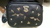NEW! HARRY POTTER Crossbody Bag Black Gold Pin Badges Women's Girls Primark