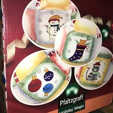 New  Pfaltzgraff  Holiday Magic set of 4 Pasta Soup Cereal Bowls BOXED